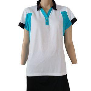 IZOD White & Blue & Black Golf Shirt XL